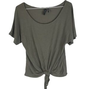 Marciano by Guess Tie Front T-Shirt Scoop Neck S